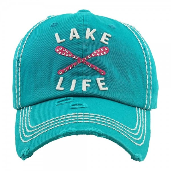 """""""Lake Life"""" embroidered vintage distressed baseball cap.  - One size fits most  - Adjustable velcro closure - 100% Cotton"""