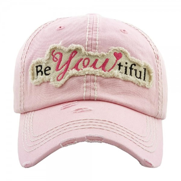 """""""BeYoutiful"""" embroidered vintage distressed baseball cap.  - One size fits most  - Adjustable velcro closure - 100% Cotton"""