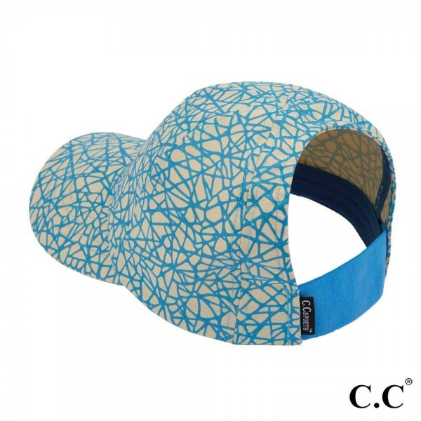 """C.C Sports Cap BT-784  Reflective geometric print athleisure pony cap  - 1.5"""" elastic band  - Two way stretch  - Ultra lightweight   - One size fits most - 100% Polyester"""