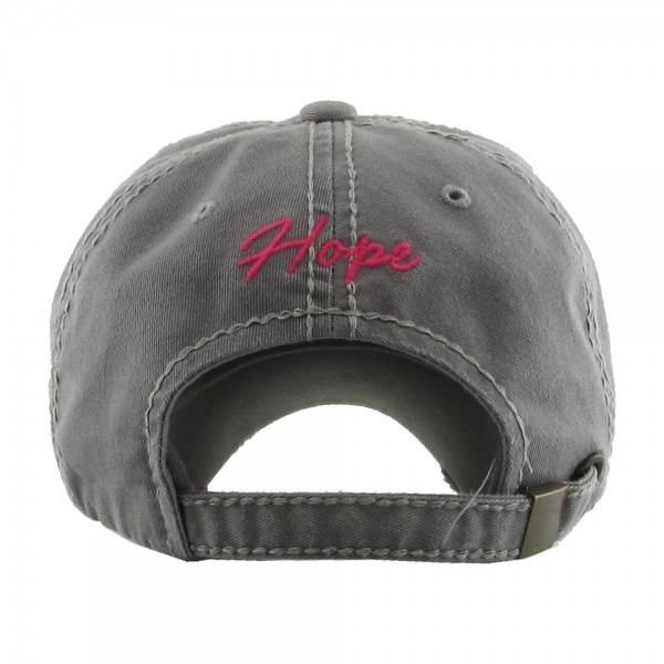 Distressed Breast Cancer Awareness embroidered baseball cap.  - One size fits most - Adjustable back strap - 100% Cotton