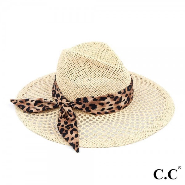 "C.C ST-907 Honeycomb Paper Straw Shape Panama Hat with Leopard Print Ribbon   - Brim approximately 3.75"" - Inside adjustable drawstring - One size fits most - 100% Paper"