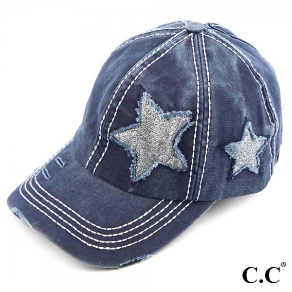 C.C BT-14 Vintage distressed Gitter Star ponytail cap  - One size fits most - Adjustable velcro closure - Ponytail hole opening  - 100% Cotton