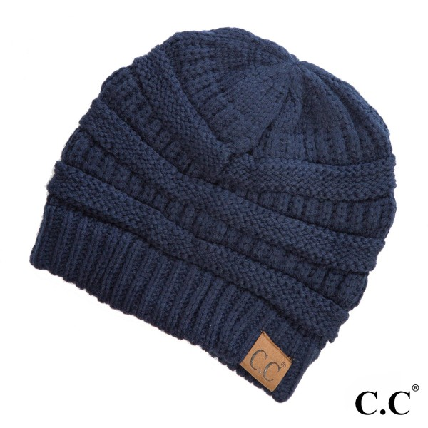 """The original C.C beanie style in navy blue. 100% acrylic. Measures 9.5"""" in diameter and 8"""" in length."""