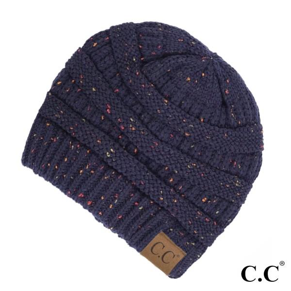 Wholesale cable knit confetti print C C beanie navy blue acrylic