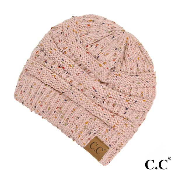 Wholesale cable knit confetti print C C beanie indi pink acrylic