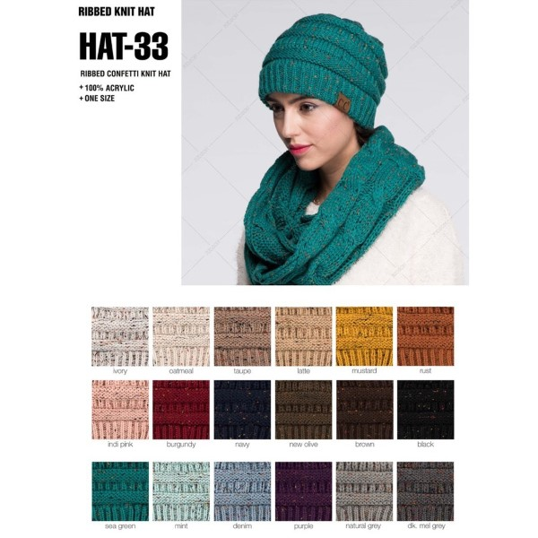 HAT-33-Cable knit, confetti print C.C beanie. 100% acrylic.   Matches: MB-33, G-33, and SF-33.