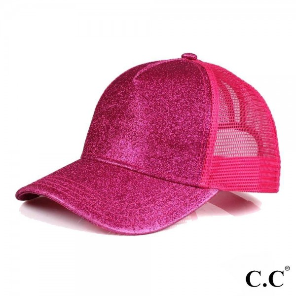 CC Pony Cap BT-6. C.C glitter ponytail baseball cap with mesh back. Adjustable velcro back with CC leather Logo on back. 100% polyester