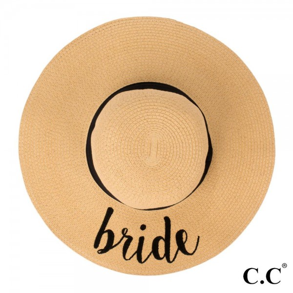 "C.C ST-2017, wide-brim floppy beach hat featuring ""Bride"". This hat is crushable/packable and able to hold it's shape. Brim measures 4"" in width and hat is 15.5"" in total diameter. UPF 50+  One size fits most.  Composition: 100% Paper."