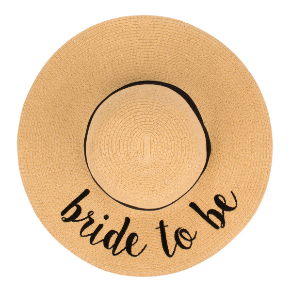 "C.C ST-2017, wide-brim floppy beach hat featuring ""Bride to Be"". This hat is crushable/packable and able to hold it's shape. Brim measures 4"" in width and hat is 15.5"" in total diameter. UPF 50+  One size fits most.  Composition: 100% Paper."