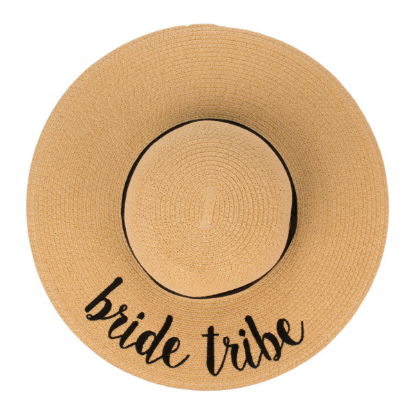 "C.C ST-2017, wide-brim floppy beach hat featuring ""Bride Tribe"". This hat is crushable/packable and able to hold it's shape. Brim measures 4"" in width and hat is 15.5"" in total diameter. UPF 50+  One size fits most.  Composition: 100% Paper."