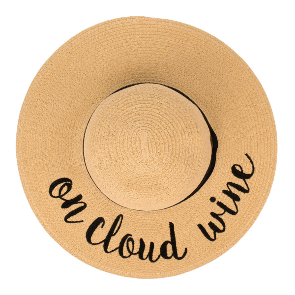 "C.C ST-2017, wide-brim floppy beach hat featuring ""On Cloud Wine"". This hat is crushable/packable and able to hold it's shape. Brim measures 4"" in width and hat is 15.5"" in total diameter. UPF 50+  One size fits most.  Composition: 100% Paper."