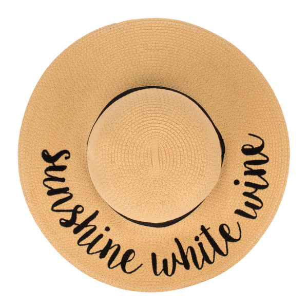 "C.C ST-2017, wide-brim floppy beach hat featuring ""Sunshine White Wine"". This hat is crushable/packable and able to hold it's shape. Brim measures 4"" in width and hat is 15.5"" in total diameter. UPF 50+  One size fits most.  Composition: 100% Paper."