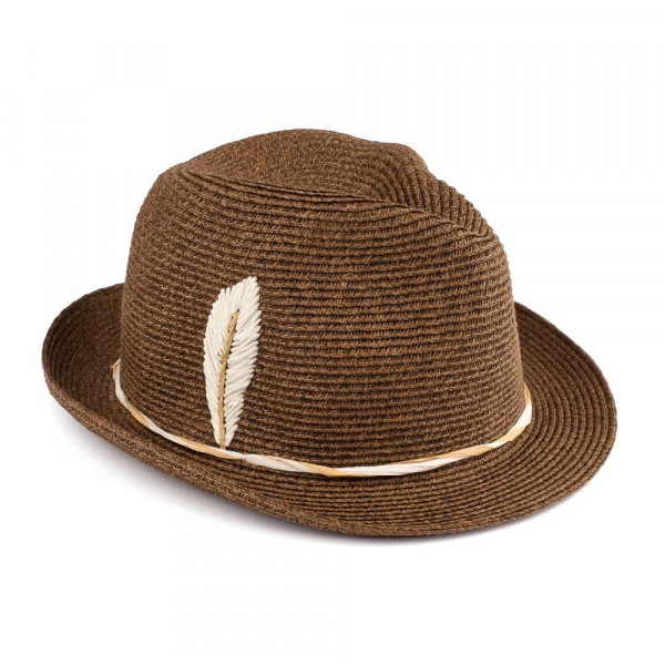 "C.C Brand fedora hat with an embroidered, raffia feather. 80% paper and 20% polyester. Approximately 10.5"" in diameter. UPF 50+"