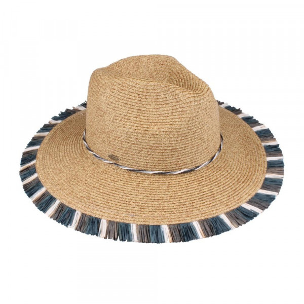 C.C brand ST-701 straw, multi colored fringe, panama hat. 80% paper straw and 20% polyester. UPF 50+