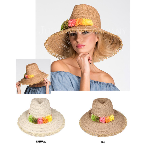 C.C brand ST-705 wide brim hat with paper flower band. 88% paper straw and 12% polyester. UPF 50+