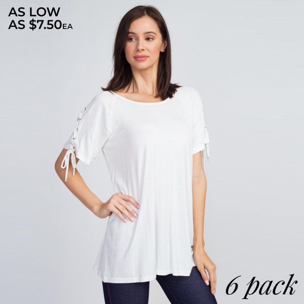 This top is far from basic featuring short sleeves with an edgy lace-up placket and an oversized silhouette.   • Round neckline  • Short sleeves w/ lace-up placket and grommets  • Oversized silhouette  • Soft and stretchy  • Imported   Content: 92% Rayon, 8% Spandex   Pack Breakdown: 6pcs/pack. 2S: 2M: 2L