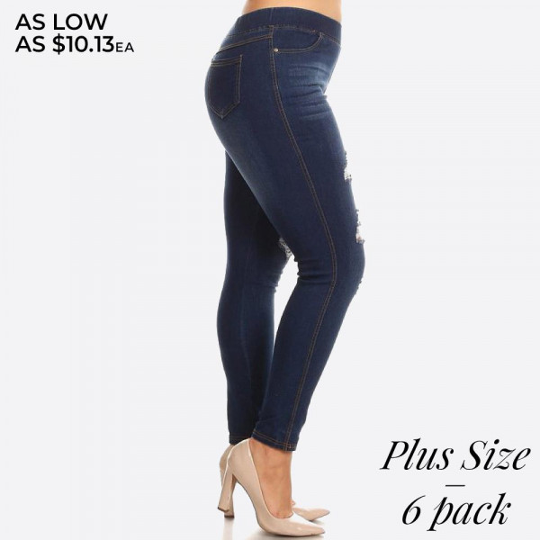 Plus size women's classic distressed skinny jeggings. These jeggings are styled to resemble a pair of jeans. Get both comfort and style!  - Super stretchy  - Pull up style  Denim shade and tone may vary.  Please note, this brand runs very small. Be sure to check measurements on size chart for the most accurate fit.   Pack Breakdown: 6pcs / pack  Sizes: 2-XL / 2-1X / 2-2X  Composition: 76% Cotton, 22% Polyester, 2% Spandex