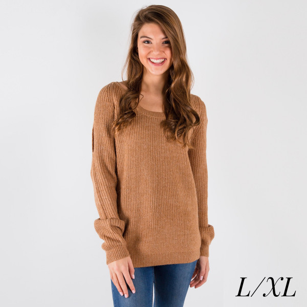 Long sleeve cold shoulder sweater.  Sizes-Large/XL