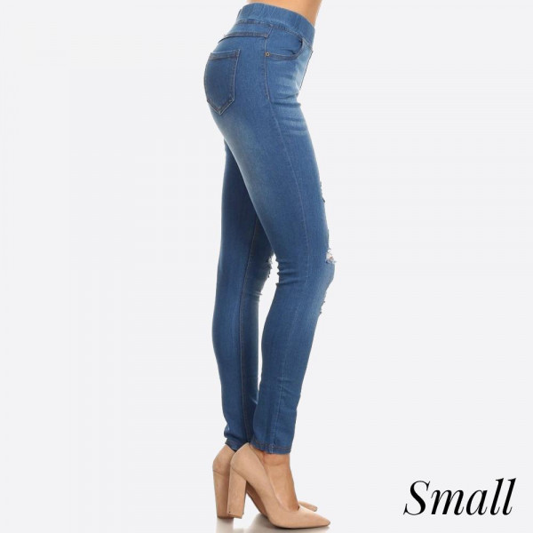 Women's Classic Distressed Skinny dark wash Jeggings. These jeggings are styled to resemble a pair of jeans. Get both comfort and style! ? Super Stretchy ? Pull up Style Composition: 76% Cotton, 22% Polyester, 2% Spandex