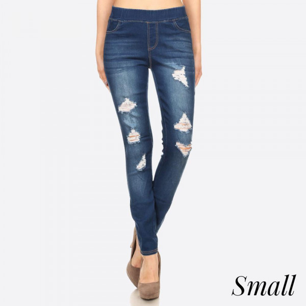 Women's Classic Distressed Skinny Jeggings. These jeggings are styled to resemble a pair of jeans. Get both comfort and style!  � Super Stretchy  � Pull up Style  Composition: 76% Cotton, 22% Polyester, 2% Spandex