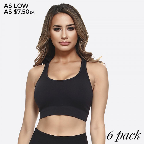 This sports bra features all the technology you've come to love. Enjoy sweat-fighting fabric, all-way stretch construction, removable cups, and a super cool hoodie to keep you covered during sun-drenched drills or downpours.   • Racer-back  • Scoop Neckline  • Caged Back Detail  • Detachable Hood  • Removable cups  • Medium support.  • Pullover style  • Machine wash. Tumble dry.  • Imported   Composition: 92% Nylon 8% Spandex   Pack Breakdown: 6pcs/ pack. 3S/M: 3M/L