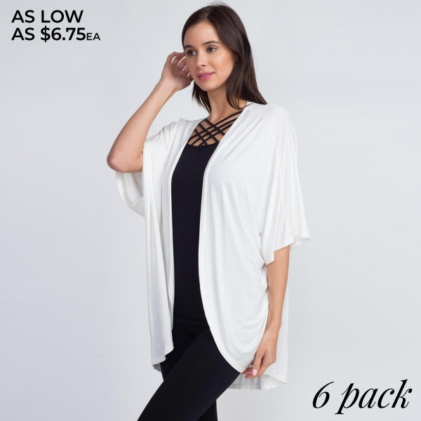 This chic cardigan is the perfect layer to make any outfit look instantly put-together!   • Short Sleeves, open front  • Relaxed scooped hem  • Soft and stretchy  • Lightweight  • Imported   Content: 95% Rayon, 5% Spandex   Pack Breakdown: 6pcs/pack. 2S: 2M: 2L