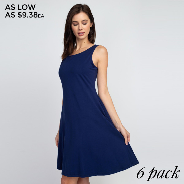 This adorable a-line dress features a sleeveless silhouette and two side pockets for carrying loose items.   • Sleeveless, round neck  • Two functional pockets at hips • A-line silhouette  • Knee length hem  • Stretchy and soft  • Import   Composition: 92% Cotton, 8% Spandex   Pack Breakdown: 6pcs/pack. 2S: 2M: 2L