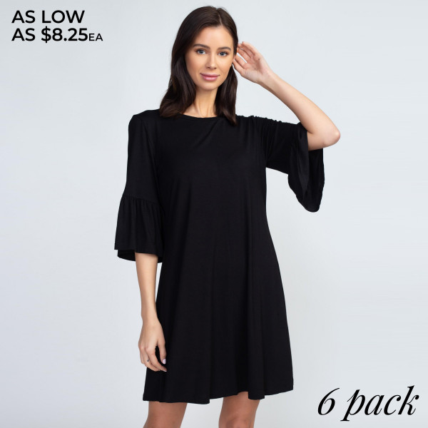 This adorable peplum sleeve dress will be your new wardrobe staple to wear for a casual coffee date or weekly brunches with the girls!   • 3/4 sleeves with peplum cuffs  • Roundneck  • Soft and stretchy  • Relaxed knee length hem  • Very soft, stretchy  • Pull over styling  • Imported   Content: 95% Rayon, 5% Spandex   Pack Breakdown: 6pcs/pack. 2S: 2M: 2L