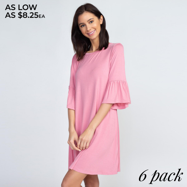 "This adorable peplum sleeve dress will be your new wardrobe staple to wear for a casual coffee date or weekly brunches with the girls. Approximately 32"" in length.  • 3/4 sleeves with peplum cuffs  • Roundneck  • Soft and stretchy  • Relaxed knee length hem  • Very soft, stretchy  • Pull over styling  • Imported   Content: 95% Rayon, 5% Spandex   Pack Breakdown: 6pcs/pack. 2S: 2M: 2L"