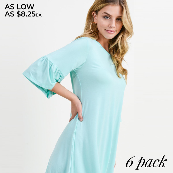 """This adorable peplum sleeve dress will be your new wardrobe staple to wear for a casual coffee date or weekly brunches with the girls. Approximately 32"""" in length.  • 3/4 sleeves with peplum cuffs  • Roundneck  • Soft and stretchy  • Relaxed knee length hem  • Very soft, stretchy  • Pull over styling  • Imported   Content: 95% Rayon, 5% Spandex   Pack Breakdown: 6pcs/pack. 2S: 2M: 2L"""