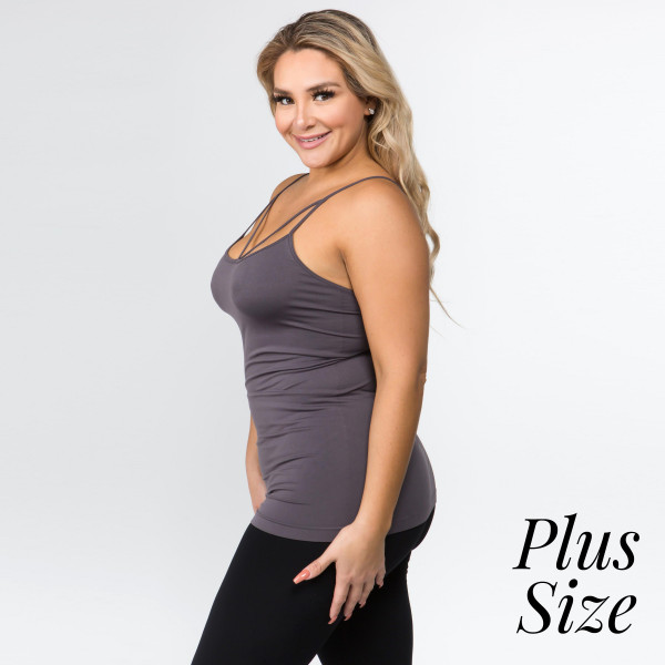 You could always use another basic like this for layering and creating all of your gram' worthy looks!   • Strappy detail on front  • Seamless design  • Longline hem  • Fits your body like a glove  • Spaghetti Straps  • Ultra Soft  • Stretchy Knit  • Machine Wash  • Imported   One size fits most plus 16-22.  Content: 92% Nylon, 8% Spandex