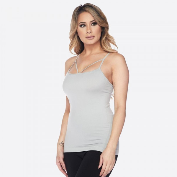 You could always use another basic like this for layering and creating all of your 'Gram worthy looks!   • Strappy detail on front  • Seamless design  • Longline hem  • Fits your body like a glove  • Spaghetti Straps  • Ultra Soft  • Stretchy Knit  • Machine Wash  • Imported   One size fits most 0-14.  Content: 92% Nylon, 8% Spandex