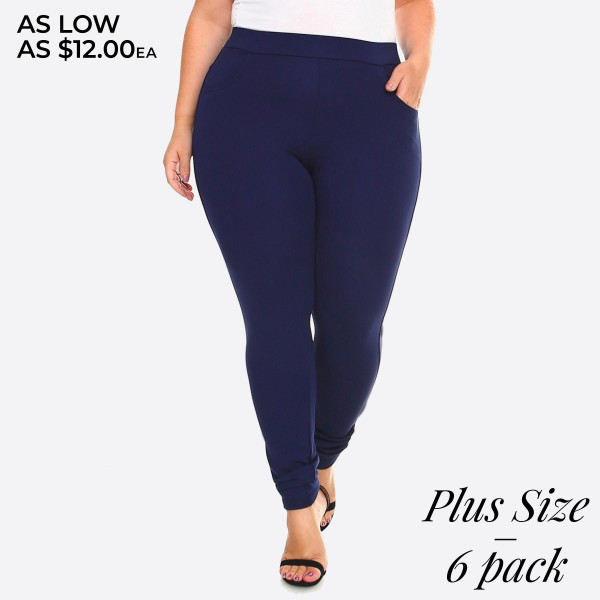 Dress to impress in these ponte knit slim pants. With a skinny leg design and easy pull-on style, they're the picture of work-to-weekend chic.   • Elastic at Waist  • Functional Front & Back Pockets  • Skinny Fit  • Pull-Up Style  • Mid Rise  • Care: Machine Wash Cold, Do not Bleach, Tumble Dry Low, Iron Low  • Imported   Composition: 65% Rayon, 35% Nylon, and 5% Spandex   Pack Breakdown: 6pcs/pack. 2XL: 2XXL: 2XXXL