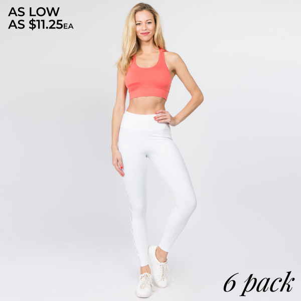 Fashion and function come together in these high rise leggings featuring side lace-up, mesh panels for better ventilation and eye-catching style that's sure to get you noticed in spin class!   • Reinforced high rise style waistband  • Lace-up/mesh side detailing  • Ultra soft and stretchy for a comfortable wear  • Flat stitched seams at legs/crotch gusset  • Full length  • Moisture wicking  • Imported   Composition:   Pack Breakdown: 6pcs/pack. 2S: 2M: 2L
