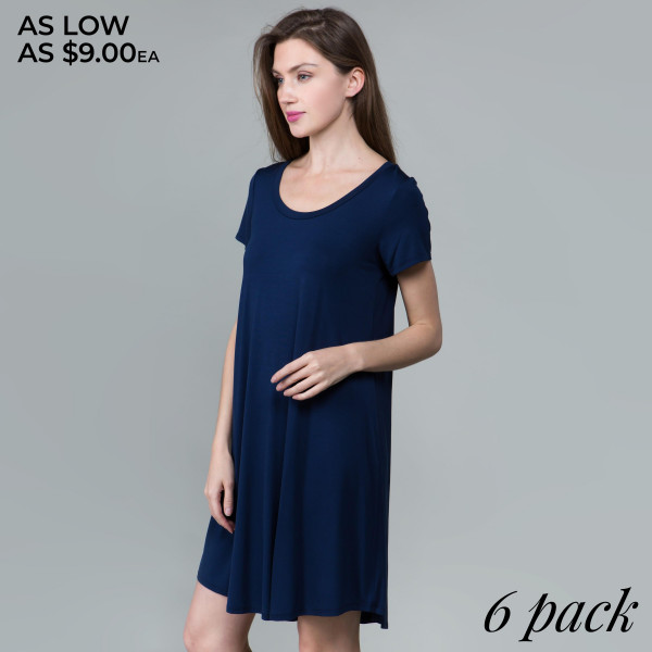 This basic tunic dress looks and feels amazing.it's highly versatile. 95% rayon- 5 % spandex. Comes in 6 pack. Breakdown: 1S 2M 2L XL.
