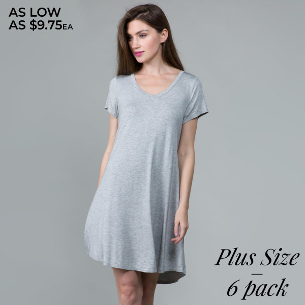 This basic tunic dress looks and feels amazing.it's highly versatile. 95% rayon- 5 % spandex. Comes in 6 pack. Breakdown: 2-1xl, 2-2xl, 2-3xl.