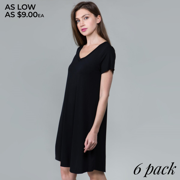 This basic tunic dress looks and feels amazing.it's highly versatile 95% rayon- 5 % spandex. Comes in 6 pack. Breakdown: 1S 2M 2L XL.