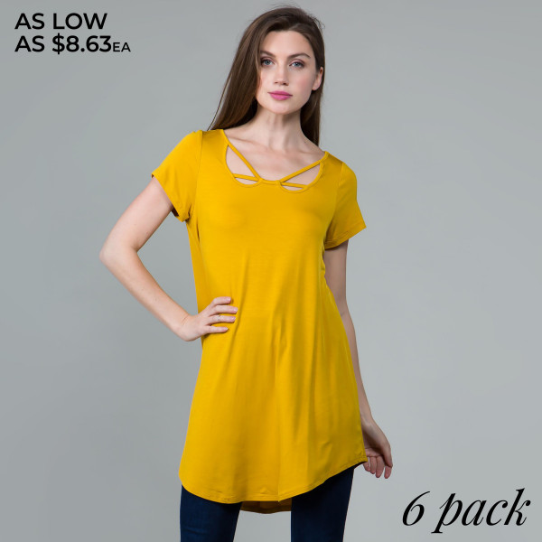 This basic tunic dress looks and feels amazing.it's highly versatile with neck line detail. 95% rayon- 5 % spandex.  Comes in 6 pack. Breakdown: 1S 2M 2L XL.