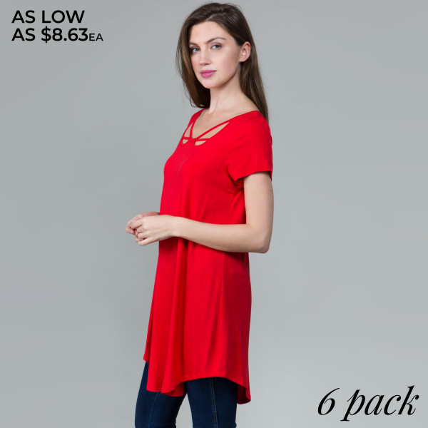 This basic tunic dress looks and feels amazing, and it's highly versatile with neck line detail. 95% rayon- 5 % spandex.  Comes in 6 pack. Breakdown: 1S 2M 2L XL.