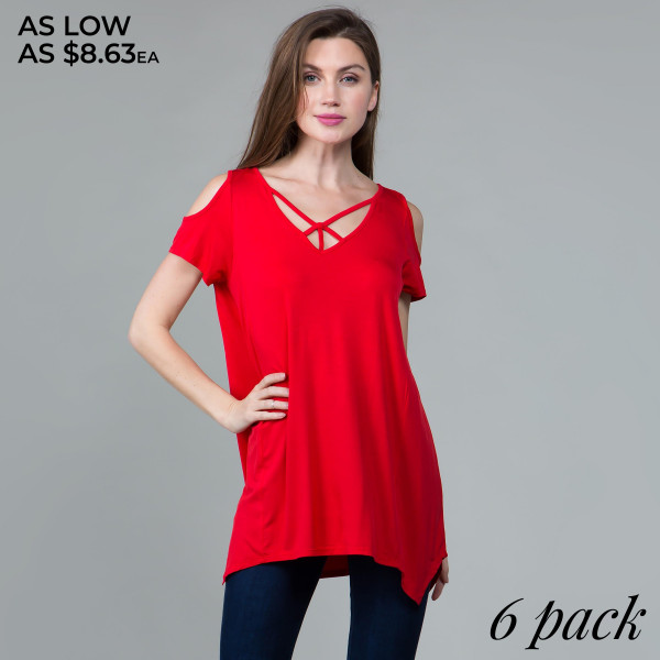 This basic top is highly versatile and includes a modal cold shoulder, criss cross neckline, and shark bite hem. 95% rayon- 5% spandex. Comes in 6 pack. Breakdown: 1S 2M 2L XL.