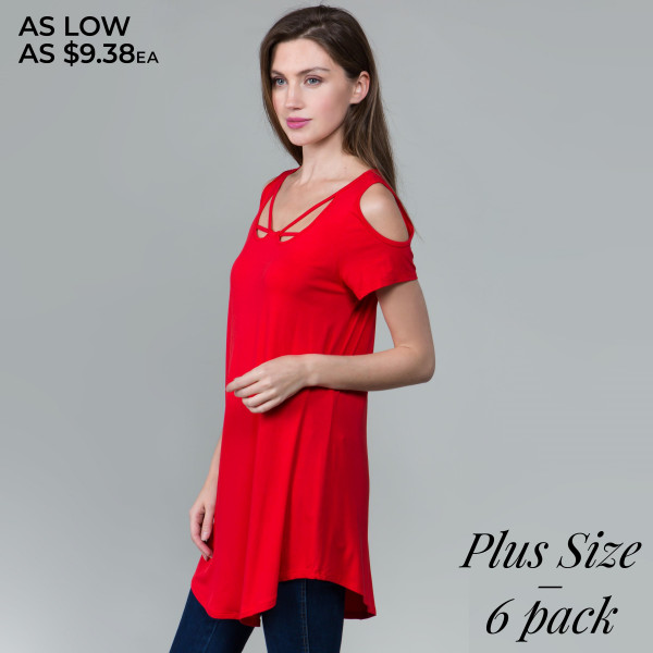 This basic tunic dress looks and feels amazing.it's highly versatile with modal cold shoulder. 95% rayon- 5 % spandex. Comes in 6 pack. Breakdown 2-1xl, 2-2xl, 2-3xl.