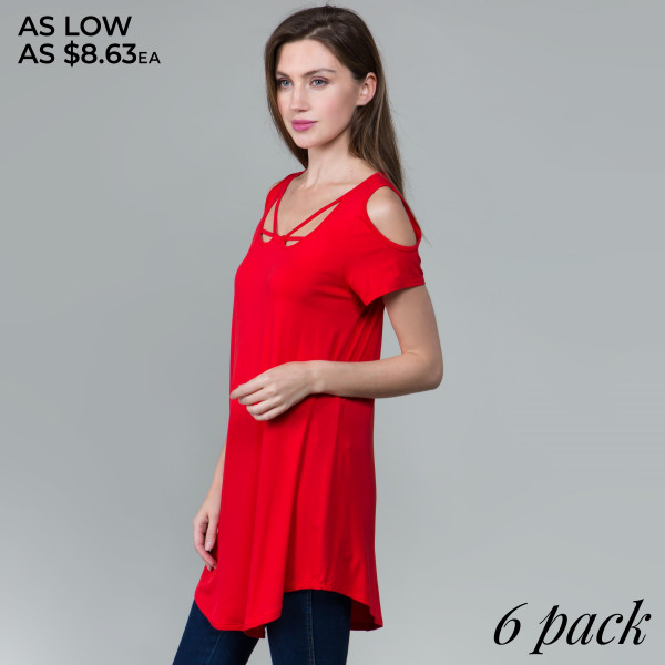 This basic tunic dress looks and feels amazing. It's highly versatile with modal cold shoulders and a cutout neckline. 95% rayon- 5% spandex. Comes in 6 pack. Breakdown: 1S 2M 2L 1XL.