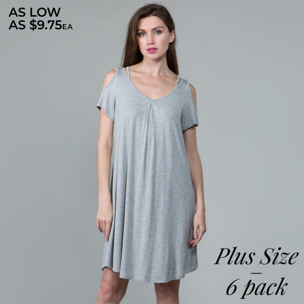 This basic tunic dress looks and feels amazing.it's highly versatile modal cold shoulder detail. 95% rayon- 5 % spandex. Comes in 6 pack. Breakdown: 2-1xl, 2-2xl, 2-3xl.