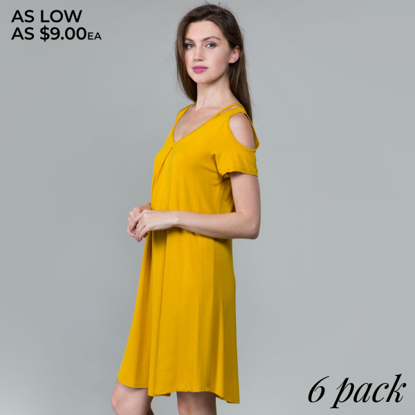 This basic tunic dress looks and feels amazing.it's highly versatile modal cold shoulder detail. 95% rayon- 5 % spandex. Comes in 6 pack. Breakdown: 1S 2M 2L XL.
