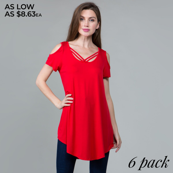 This basic tunic dress looks and feels amazing.it's highly versatile. With chris cross neck lines. 95% rayon- 5 % spandex. Comes in 6 pack. Breakdown: 1S 2M 2L XL.