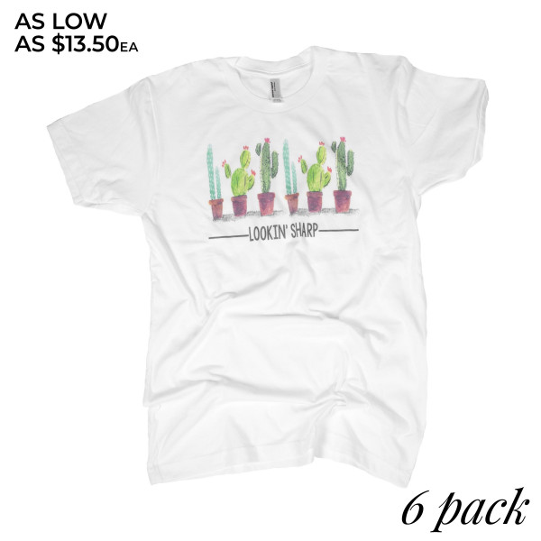 Short Sleeve Boutique Graphic Tee. These t-shirts are sold in a 6 pack. S:1 M:2 L:2 XL:1 35% Cotton 65% Polyester Brand: AMERICAN APPAREL