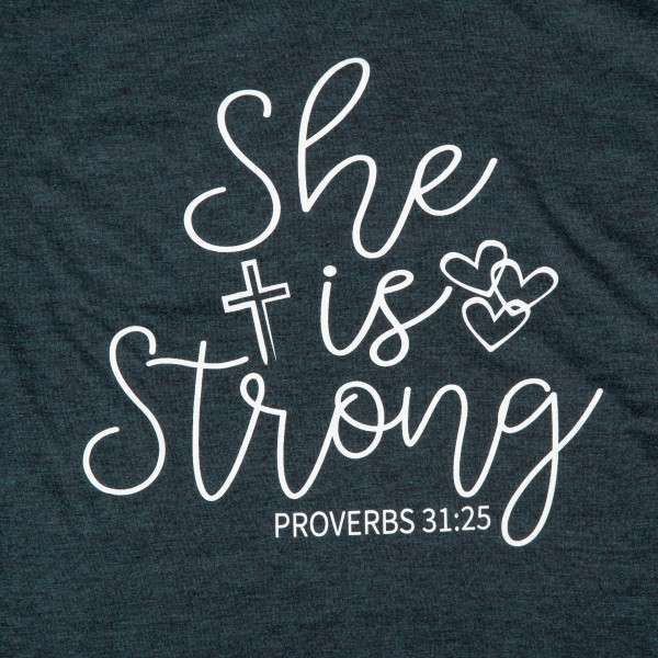 She is strong. Short Sleeve Boutique Graphic Tee. These t-shirts are sold in a 6 pack. S:1 M:2 L:2 XL:1 35% Cotton 65% Polyester Brand: AMERICAN APPAREL