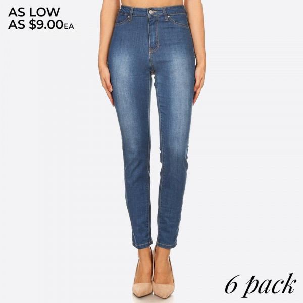 High waisted, denim skinny jeans in a fitted style, with a button/zipper closure, pockets, and contrast stitching.  Composition: 76% Cotton, 22% Polyester, 2% Spandex  Pack Breakdown: 6pcs/pack. 2S: 2M: 2L