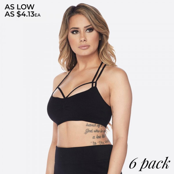 How cute would this bralette look peeking out from under an off the shoulder sweater! Soft, stretchy, seamless bralette features a caged strap design on front and back in an easy pullover design.   • Double shoulder straps  • Elasticized hem  • Caged strap detail on front/back  • Soft and stretchy fabric  • Seamless design  • Closure Style: Pullover  • Hand Wash Cold. Hang Dry. Do not Bleach  • Imported   Composition:   Pack Breakdown: 6pcs/pack. 2S: 2M: 2L