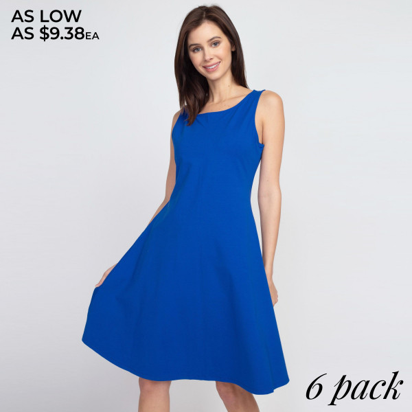 This adorable a-line dress features a sleeveless silhouette and two side pockets for carrying loose items.   - Sleeveless, round neck  - Two functional pockets at hips - A-line silhouette  - Knee length hem  - Stretchy and soft  - Import   Composition: 92% Cotton, 8% Spandex   Pack Breakdown: 6pcs/pack. 2S: 2M: 2L